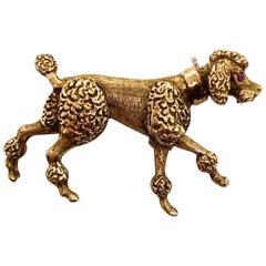 Gold Prancing Poodle Pin