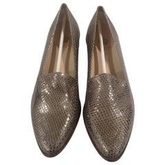 Gold python print leather loafer NWOT
