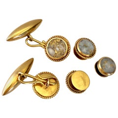 Gold Quartz Cufflink and Button Set in 18 Karat Gold