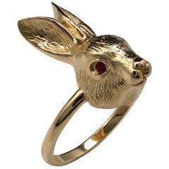 Solid Gold Rabbit, Ruby Eyes, Custom Made Animal Rings by Michael Hunter BA Hons