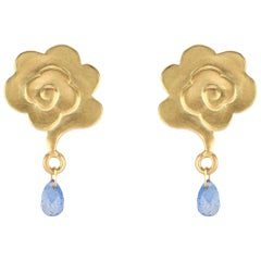 Gold Rain Cloud Stud Earrings with Blue Sapphire Raindrops