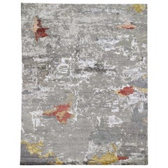 Gold/Red Abstract Design Wool and Silk Hand Knotted Oriental Rug