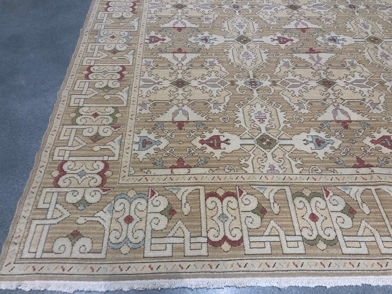 European Gold, Red and Green Pattern Rug For Sale