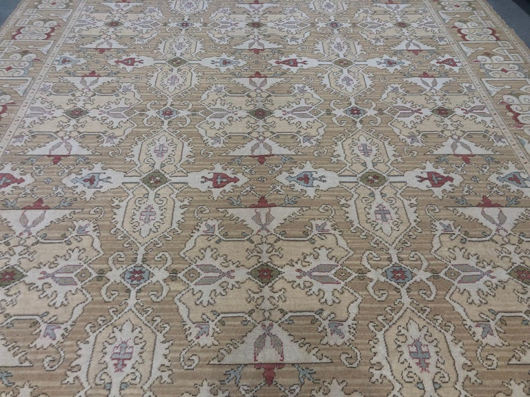 Hand-Knotted Gold, Red and Green Pattern Rug For Sale