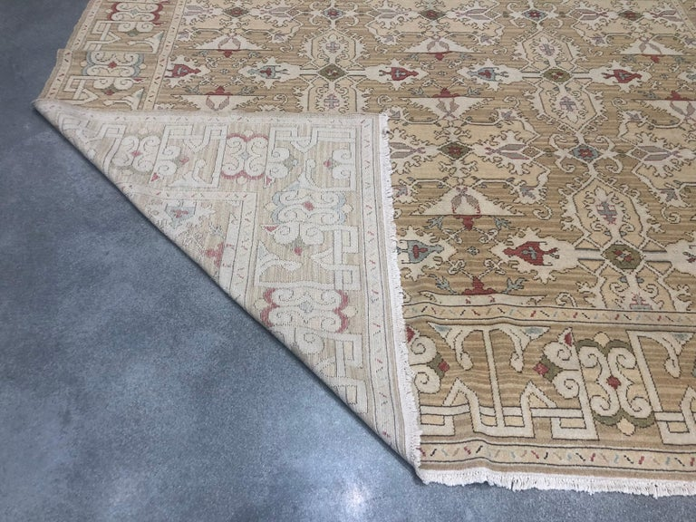 Gold, Red and Green Pattern Rug In New Condition For Sale In Los Angeles, CA