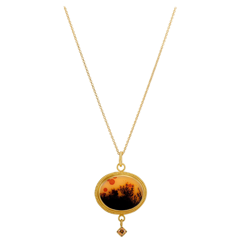 Gold Red Black Dendritic Agate Sphene 22 Karat Granulation Pendant Necklace