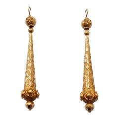 Gold Regency Torpedo Earrings