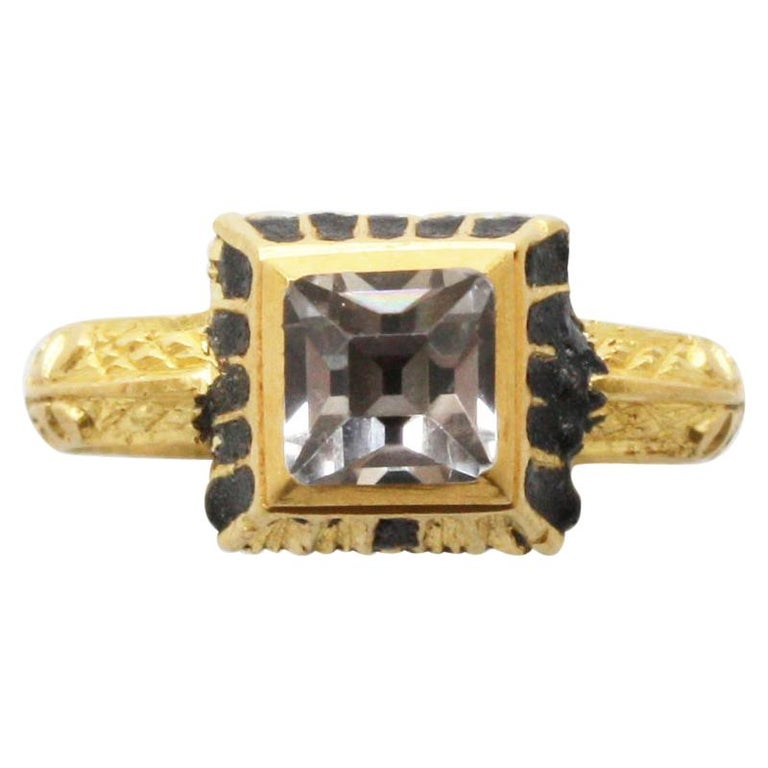 Gold Renaissance Ring with a Table Cut Rock Crystal