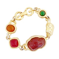 Gold & Resin Cabochon Organic Link Bracelet With Logo Clasp By Givenchy, 1980s