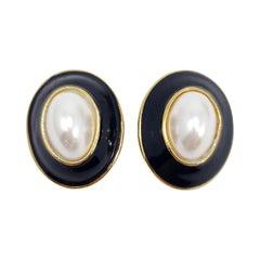 Gold Retro Chunky Fashion Clip On Earrings, Black Enamel, Late 1900s