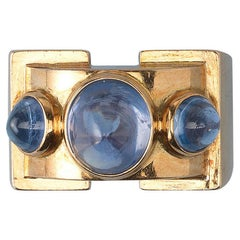 Gold Retro Ring Set with Three Cabochon Sapphires