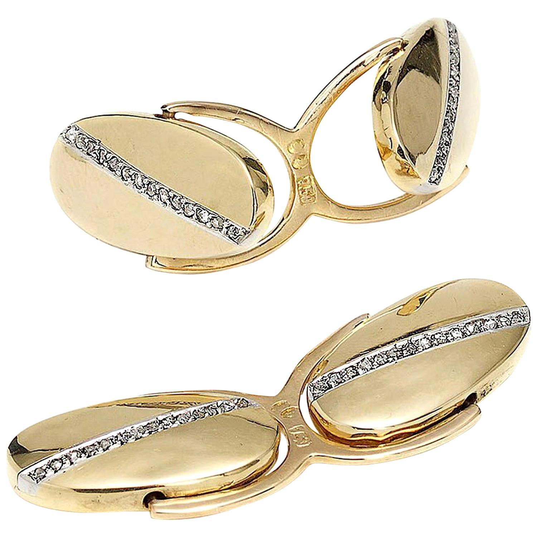 Gold Reversible Diamond Swivel Cufflinks, Circa 1920