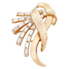 Gold Ribbon Brooch With Baguette Crystal Spray By Alfred Philippe For Trifari