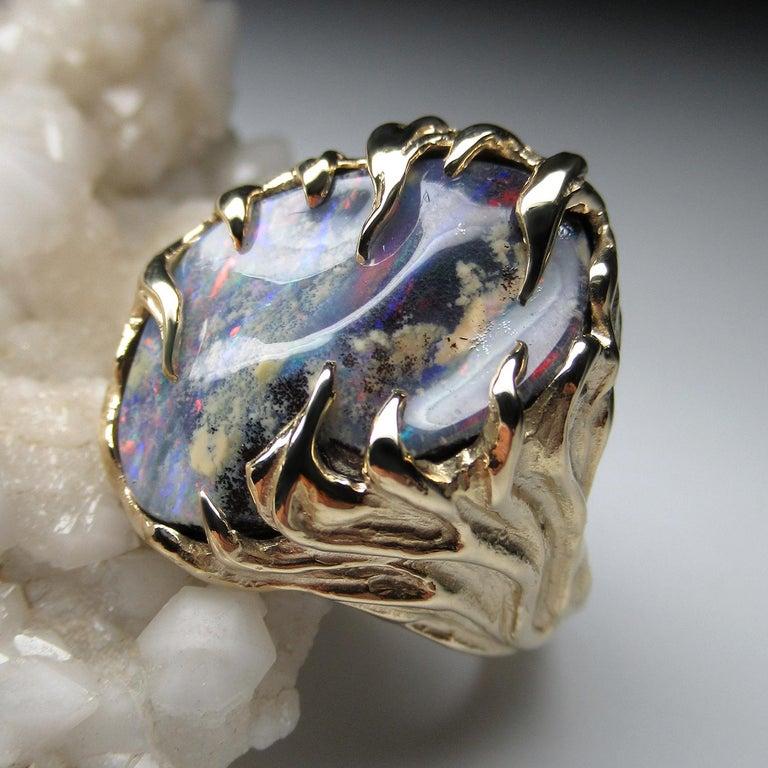 Gold Ring Opal Boulder 14K Art Nouveau Gemstone Men's Unisex Gemstone Jewelry For Sale 5