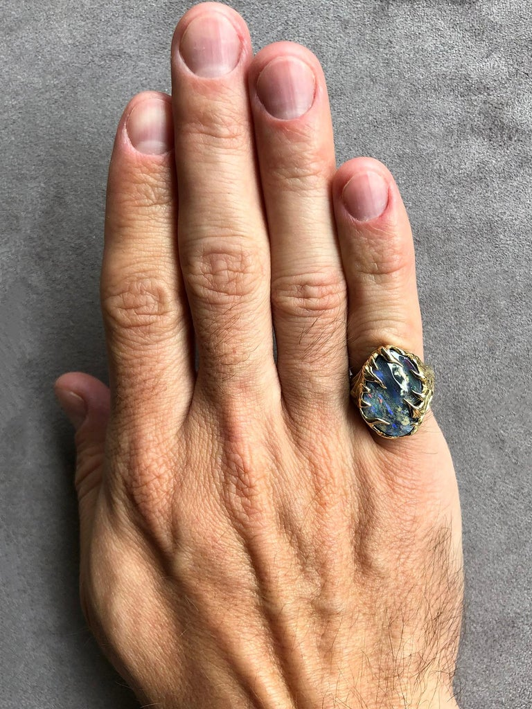 Cabochon Gold Ring Opal Boulder 14K Art Nouveau Gemstone Men's Unisex Gemstone Jewelry For Sale