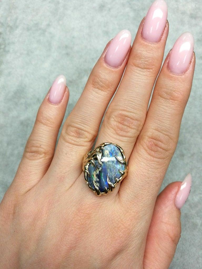 Gold Ring Opal Boulder 14K Art Nouveau Gemstone Men's Unisex Gemstone Jewelry In New Condition For Sale In Berlin, DE