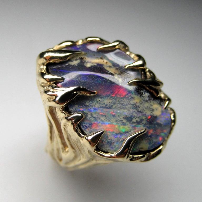 Women's or Men's Gold Ring Opal Boulder 14K Art Nouveau Gemstone Men's Unisex Gemstone Jewelry For Sale