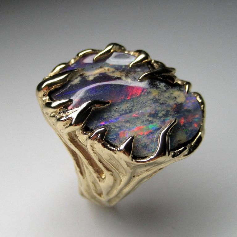 Gold Ring Opal Boulder 14K Art Nouveau Gemstone Men's Unisex Gemstone Jewelry For Sale 1