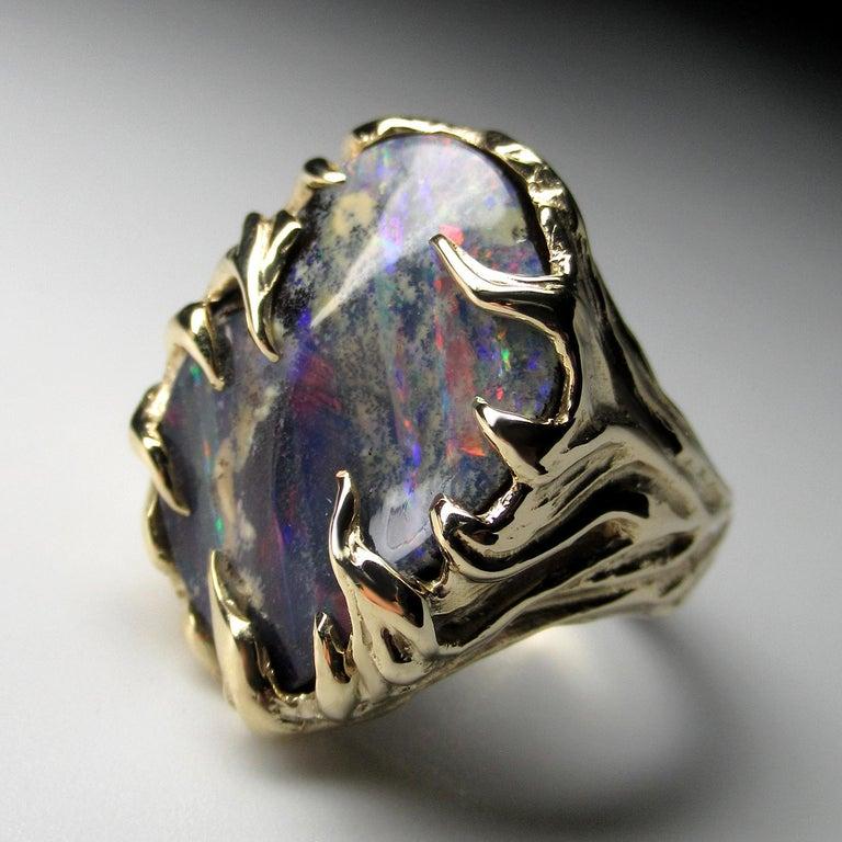 Gold Ring Opal Boulder 14K Art Nouveau Gemstone Men's Unisex Gemstone Jewelry For Sale 2