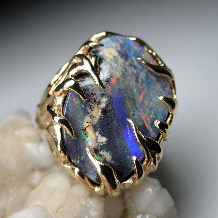 Gold Ring Opal Boulder 14K Art Nouveau Gemstone Men's Unisex Gemstone Jewelry For Sale 3