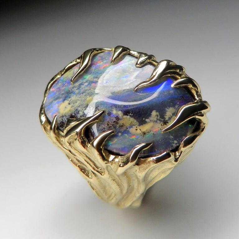 Gold Ring Opal Boulder 14K Art Nouveau Gemstone Men's Unisex Gemstone Jewelry For Sale 4