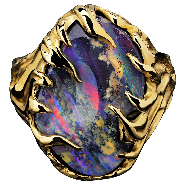 Gold Ring Opal Boulder 14K Art Nouveau Gemstone Men's Unisex Gemstone Jewelry