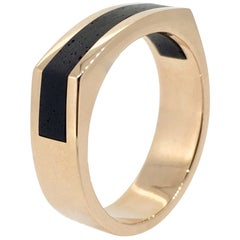 Gold Ring, Modern Design, Ebony Wood, Handmade
