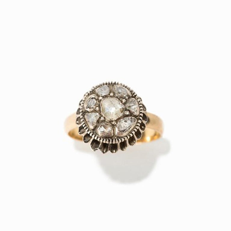Baroque Gold Ring with 9 Diamonds For Sale