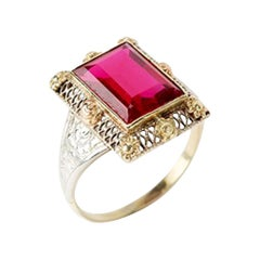 Gold Ring with Baguette-Cut Spinel, 14 Carat, 1920s a Rare Stone Variety in Pink