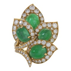 Gold Ring with Diamonds and Emeralds by Marchak