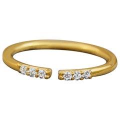 Gold Ring with Diamonds, Dainty Diamond Ring, 14 Karat/18 Karat Solid Gold Ring