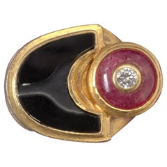 Gold Ring with Ruby Diamond and Onyx