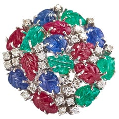 Gold Ring with Ruby, Sapphire, Emerald and Diamonds