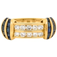 Gold Ring with Sapphire and Diamond