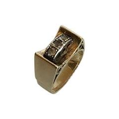 Gold Ring with Three Brilliants 14 Karat