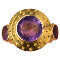 Gold Ring with Three Large Amethysts