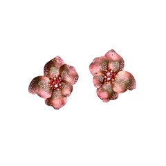 Gold Rose Titanium Earrings with Pink Tourmalines, Diamonds and Pink Sapphires