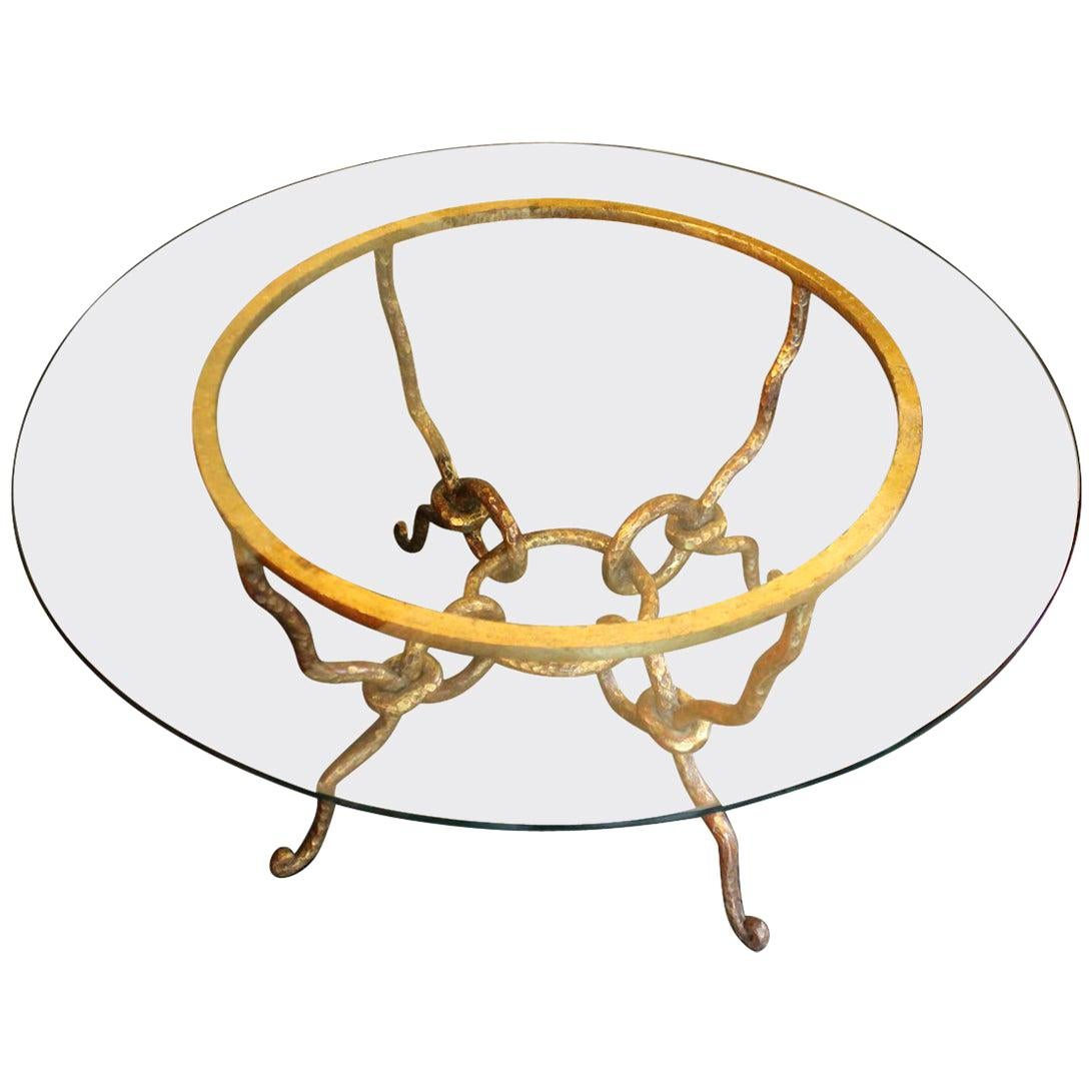 Gold Round Coffee Cocktail Table Hand Forged Iron Transparent Glass Top, 1940
