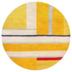 Gold Round Ilya Yulievich Bolotowsky Art Rug. Size: 7 ft x 7 ft