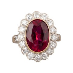Gold Rubelite and 1.50 Carats Diamonds French Vintage Ring