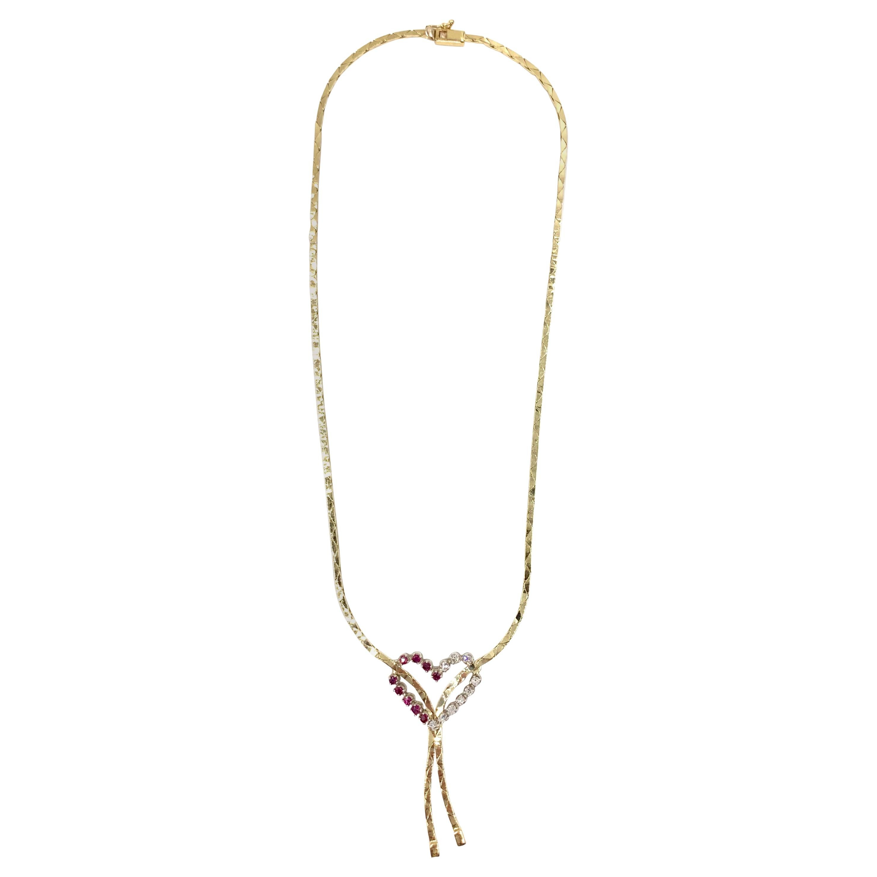 Gold Ruby and Diamond Lariat Style Heart Necklace