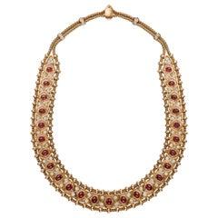 René Boivin Paris circa 1950 Gold Ruby and Diamond Necklace