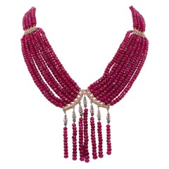 Gold, Ruby and Rose Cut Diamond Necklace