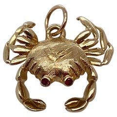 Gold & Ruby Cancer Crab Charm