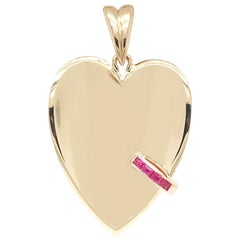 Gold Ruby Concave Heart Charm