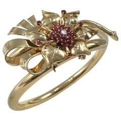 Gold Ruby Diamond Flower Brooch Bangle