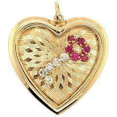 Gold Ruby Diamond Key To My Heart