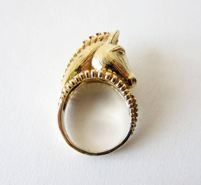 Artisan Gold Ruby Diamond Sculptural Horse Head Ring For Sale
