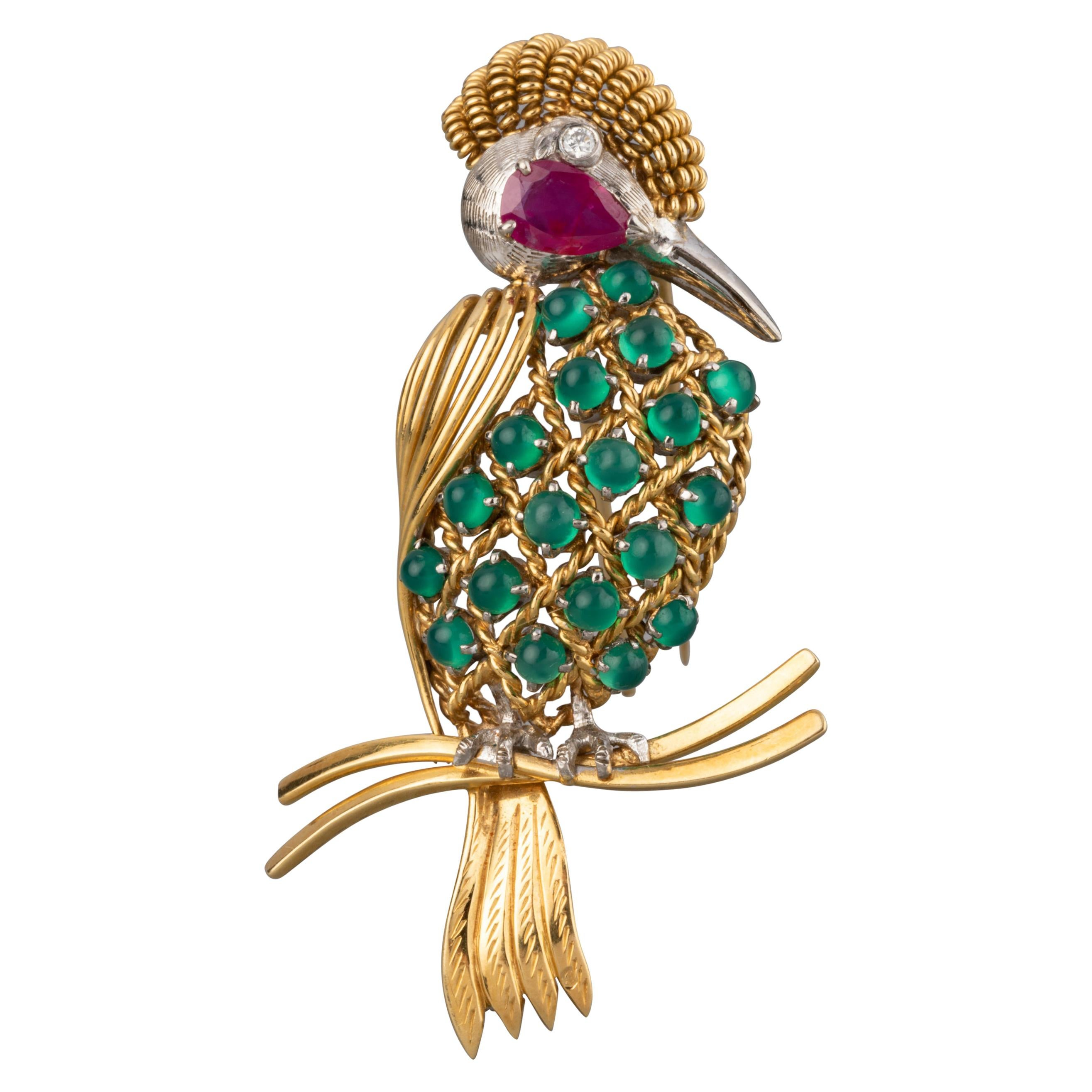 Gold Ruby Diamonds and Agate Vintage Bird Brooch