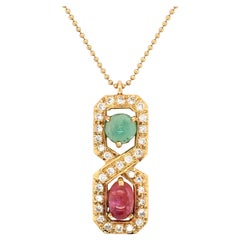 Gold, Ruby, Emerald and Diamond Pendant Necklace